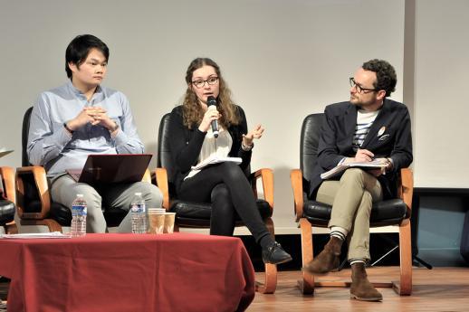 Kim-Khan Pham et Faustine Lalle de l'association Droit Pluriel avec Nicolas Blanc.