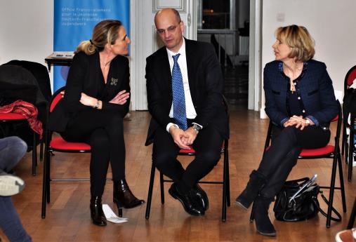 Mme Hémery en compagnie de Jean-Michel Blanquer et de la secrétaire générale de l'Office Franco-Allemand pour la Jeunesse