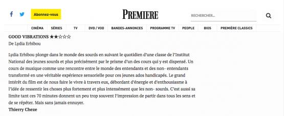 Article du site Première.fr